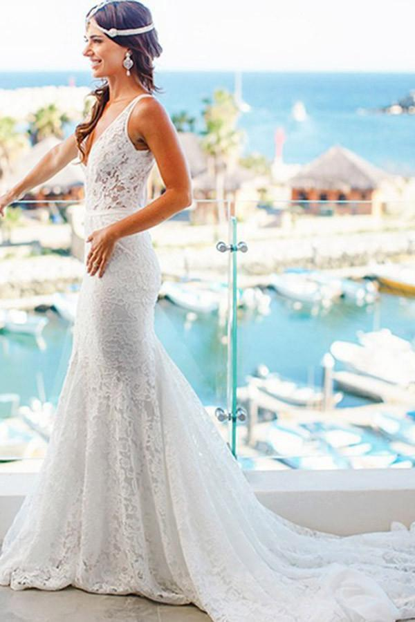 Elegant Mermaid Lace V-neck Court Train Ivory Sleeveless Beach Wedding Dresses