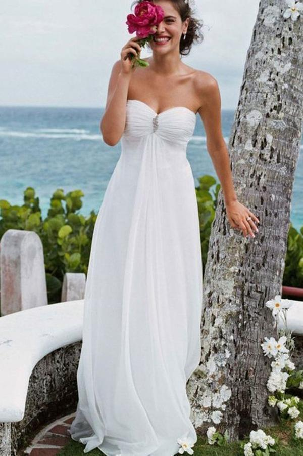 Elegant A-Line Sweetheart White Strapless Chiffon Beach Wedding Dress with Beads