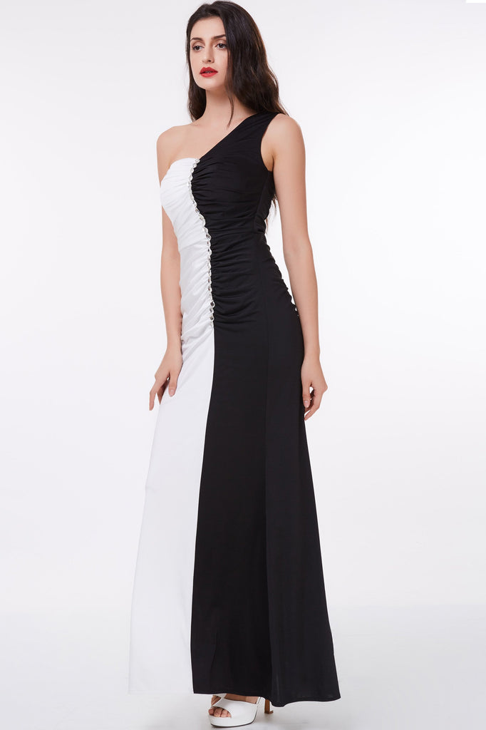 Mermaid Long Black and White Floor Length One Shoulder Beads Ruffles Prom Dresses