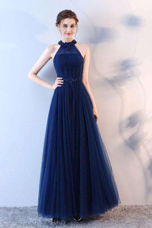 Elegant A-Line Blue Halter Tulle Long Open Back Beads Lace up Prom Dresses