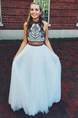 Embroidery Two Piece White Prom Dresses Two Pieces Pageant Gowns
