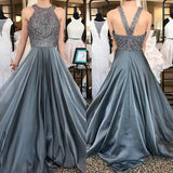 Grey Halter Open Back Chiffon A-Line Rhinestone Beaded Top Dark Long Prom Dresses
