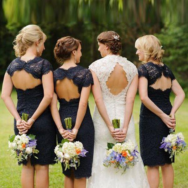 Lace Short Open Back Cheap Navy Blue Cap Sleeve Mermaid Bridesmaid Dresses