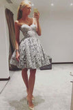 Cute A Line Sweetheart Strapless Open Back Grey Lace Short Homecoming Dresses