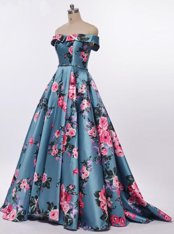 Elegant A-Line Off the Shoulder Sweetheart Lace up Satin with Flowers Prom Dresses