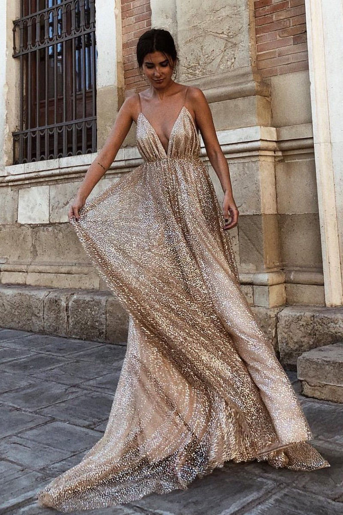 Sexy A line Deep V Neck Spaghetti Straps Backless Prom Dresses Sequins Long Party Dress