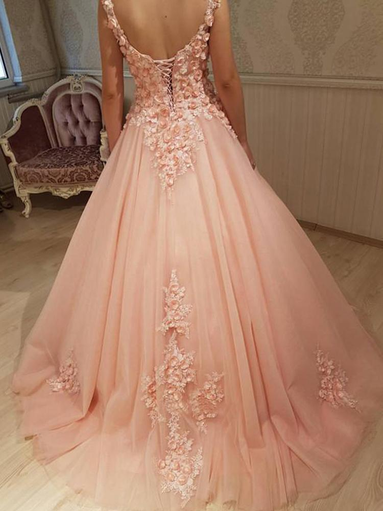 Gorgeous Ball Gown Round Neck Sweetheart Open Back Peach Lace Long Prom Dresses