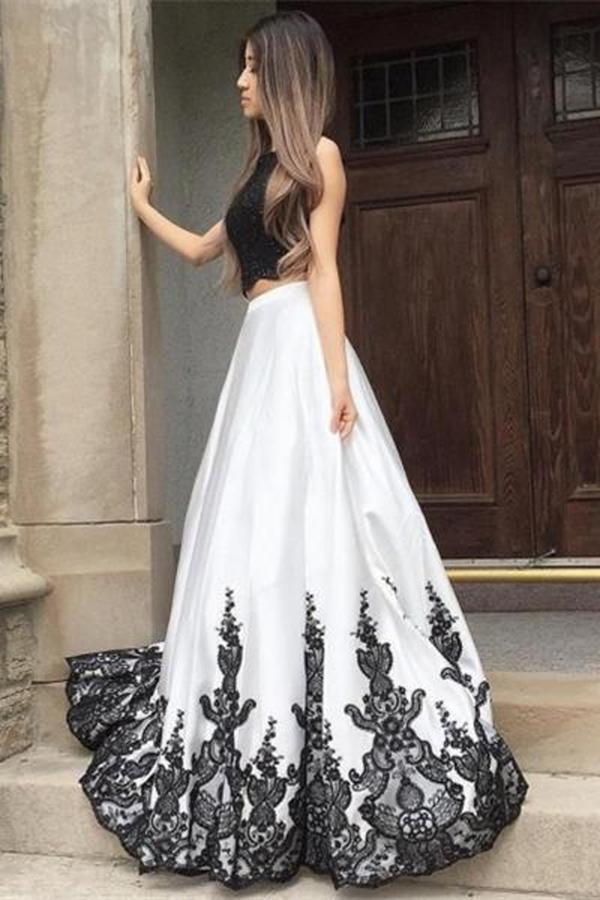 Elegant A line Two Pieces Open Back Scoop Satin Lace Beads Cheap Prom Dresses