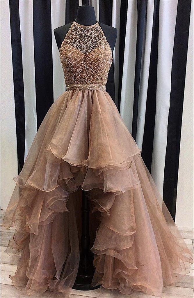 Halter Top Illusion Rhinestone Beaded Hi-Low Tulle Most Popular Long Prom Dresses