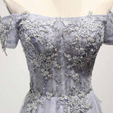 Dusty Blue A-Line Off-the-Shoulder Tulle Lace up Prom Dresses with Appliques Lace