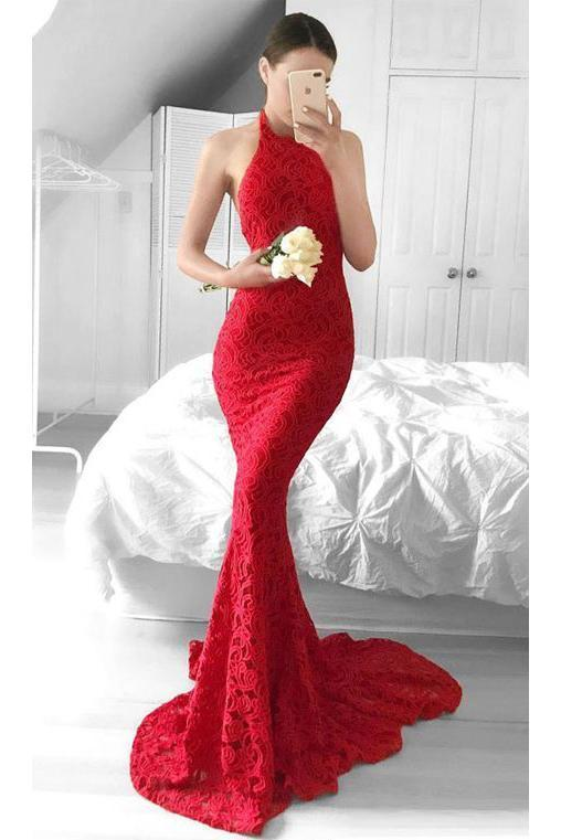 Glamorous Mermaid Red Lace Halter Evening Dress Backless Sleeveless Prom Dresses