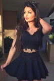 Cute A-Line V-Neck Black Sleeveless Lace Satin Appliques Homecoming Dresses