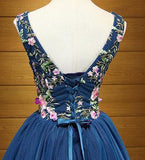 Cute A Line Navy Blue V Neck Short Prom Dresses Flower Lace up Homecoming Dresses