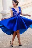 A-line V-neck Satin Backless Lace Royal Blue Homecoming Dresses