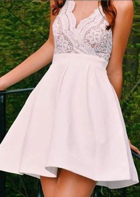 Cute Simple Spaghetti Strap Sleeveless Satin Lace Homecoming Dress