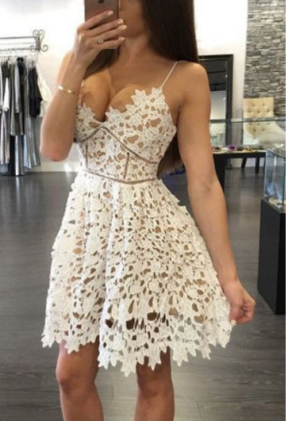 Lace Unique Homecoming Dress Graduation Dress Prom Dress for Teens