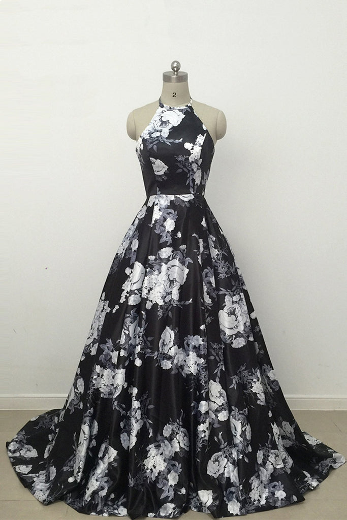 Cute Black and White Floral Satin Halter Vintage Print A-Line High Waisted Prom Dresses