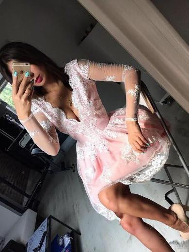 Cute A-line Long Sleeves Pink Short Lace Appliques V-Neck Homecoming Dress