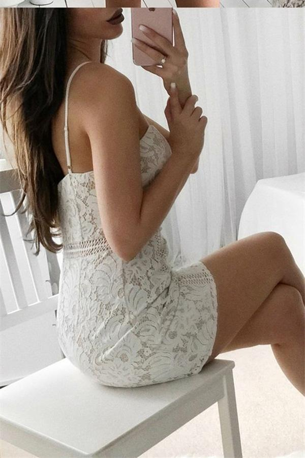 Sexy Sheath Spaghetti Straps Short Sleeveless Sweetheart Ivory Lace Homecoming Dresses