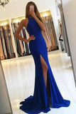 Royal Blue Long Mermaid Open Back Halter Slit Simple Cheap Prom Dresses