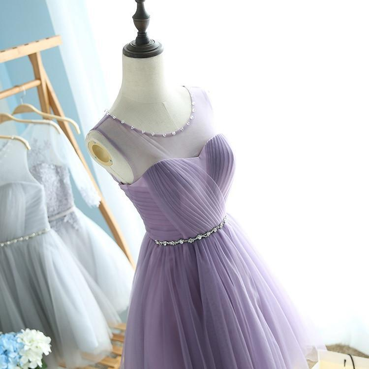Elegant A-Line Round Neck Purple Tulle Short Cute Mini Homecoming Dresses