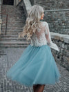 High Fashion Two-Piece Long Sleeves Homecoming Dress White Lace Top with Tutu Skirt
