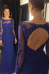 Open Back Long Sleeve Scoop Royal Blue Mermaid Floor-Length Beads Sexy Prom Dresses