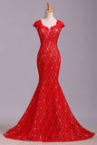 Elegant Red Sweetheart Mermaid Lace Cap Sleeve Open Back Prom Dress Party Dresses