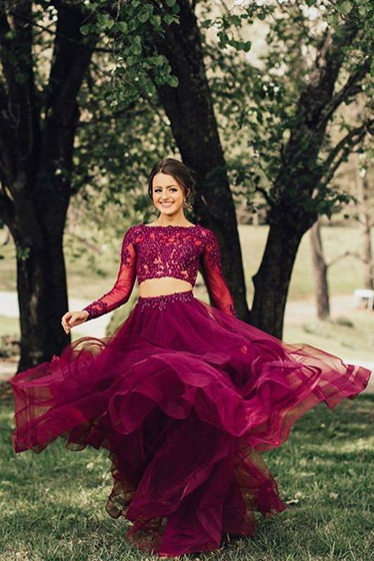 Elegant A Line Two Piece Burgundy Long Sleeve Beads Organza Open Back Long Prom Dresses