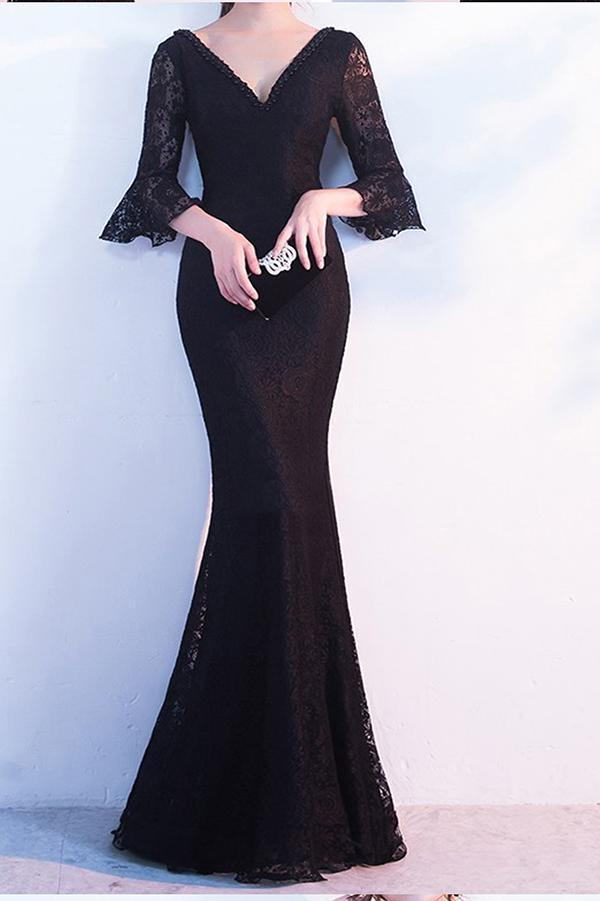 Elegant Black Lace Popular V-Neck Half Sleeve Sexy Mermaid Lace up Prom Dresses