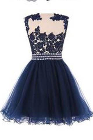 Navy Blue Lace Short Prom Dress With Waist Beads Royal Blue Mini Length Homecoming Dress