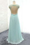 Elegant V-Neck Beading Backless Long Party Dresses Simple Prom Gowns
