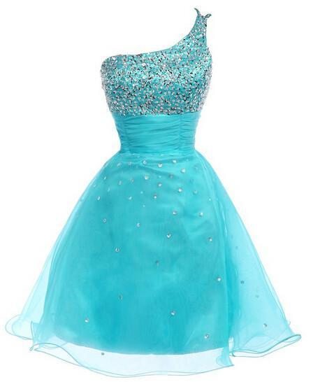 Gorgeous Sexy Short Prom Dresses One Shoulder Beading Strapless Homecoming Dresses