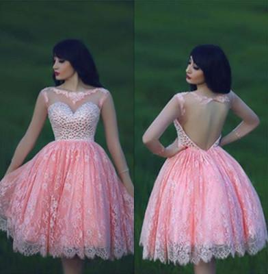 Lace Pink Homecoming Dress Lace Short Prom Dress Country Homecoming Gowns