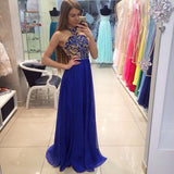 Pretty Royal Blue High Neck A-Line Sleeveless Floor-Length Modest Chiffon Prom Dresses