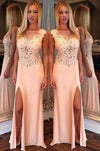 New Arrival Side Split Mermaid Scoop Sexy Sheer Long Party Gowns Women Pageant Dresses