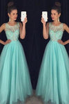 Light Blue Crystal Long A-Line Prom Dress Halter Prom Dress Open Back Prom Dress