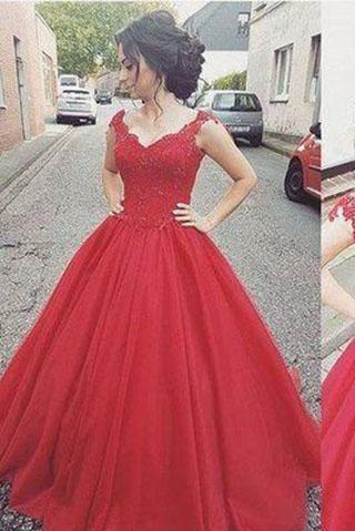 Elegant Ball Gown Cap Sleeve Appliques Sweetheart Lace up Red Long Prom Dresses
