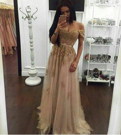Off the shoulder Gold Prom Dress Long Prom Dresses Prom Dresses