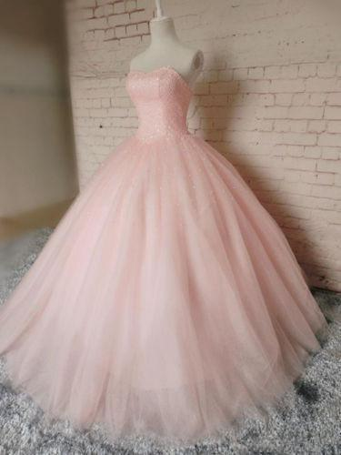 Pink Ball Gown Beading Long Charming Evening Dress Formal Women Dress Prom Dresses