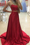 Fabulous Two Piece Red Halter Sleeveless Sweep Train with Beading Prom Dresses
