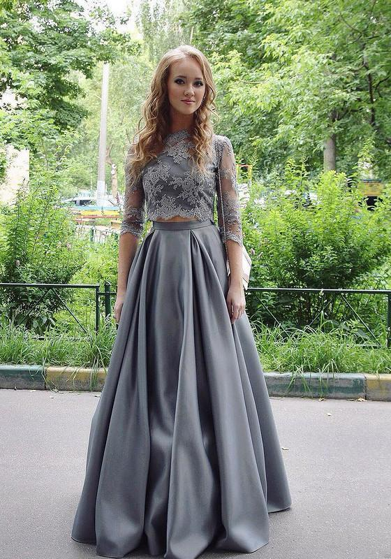 New Arrival Two-Piece A-Line Gray Lace Long Prom/Evening Dress