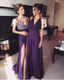 Elegant Long Simple Formal Dress For Women Purple A-Line V-Neck with Slit Prom Dresses
