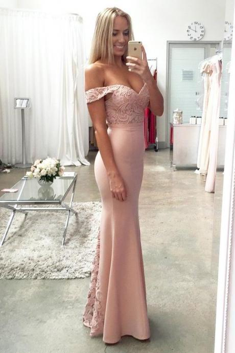 Lace Elastic Satin Off-the-shoulder Mermaid Sweetheart Floor-length Ruffles Prom Dresses