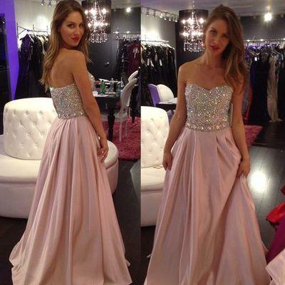 New Hot Pale Pink Strapless A-Line with Sparkly Beaded Long Sweetheart Cheap Prom Dresses