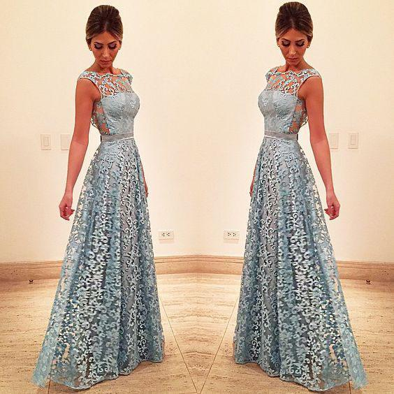 Elegant A Line Lace Appliques Long Blue Open Back Prom Dresses Homecoming Dresses