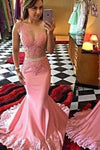 Pink Mermaid Long Illusion Bodice Applique Pearls Sheer Satin Sleeveless Prom Dresses