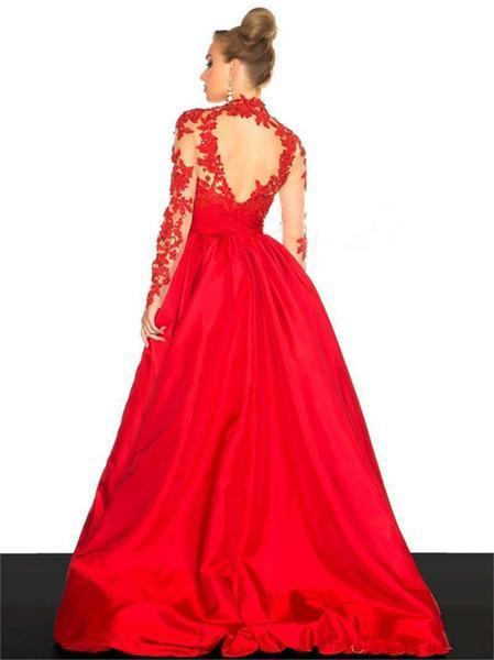 New Arrival Elegant Taffeta Applique Long Sleeve Empire Prom Gowns Evening Dresses