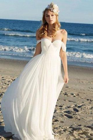 Off-the-Shoulder Empire Pleated White Sweetheart Backless Chiffon Beach Wedding Dress