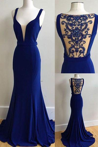 Elegant royal blue chiffon long beading prom dress see through back halter evening